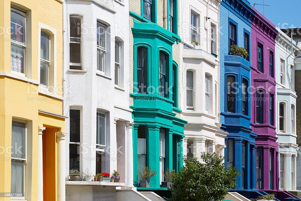 Colorful english houses facades in London near Portobello road stock photo