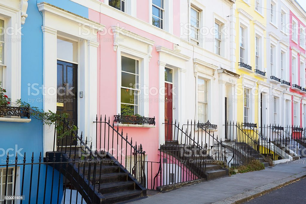 Colorful English houses facades in London stock photo