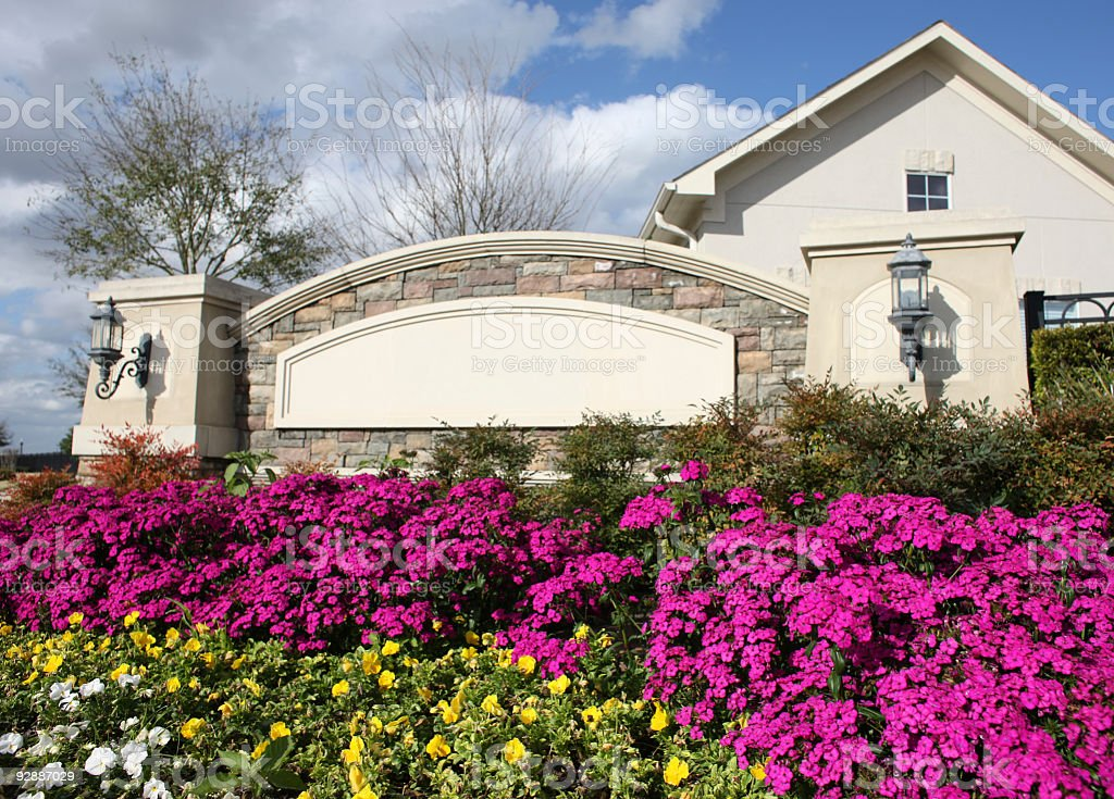 Colorful entrance to residential area. stock photo