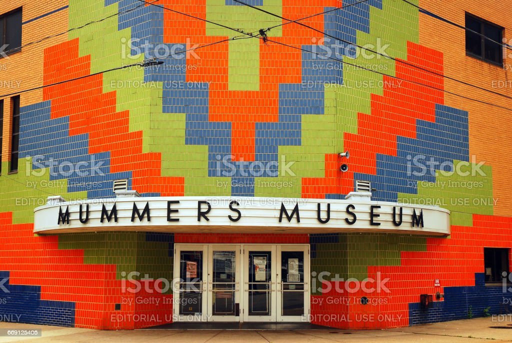 Colorful Entrance to the Mummers Museum, Philadelphia stock photo