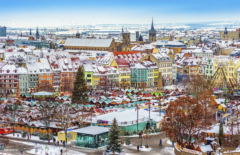 Colorful Erfurt at Christmas Time stock photo