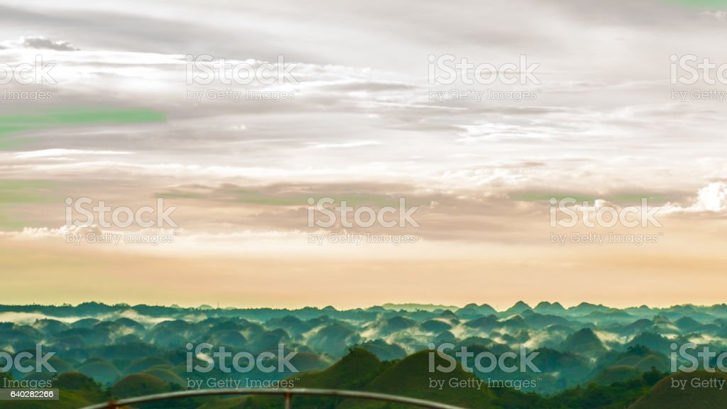 Colorful evening at the chocolate hills stock photo