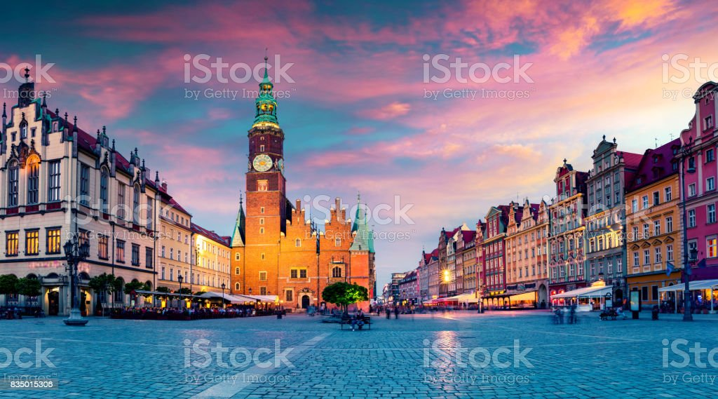 Colorful evening scene on Wroclaw Market Square stock photo