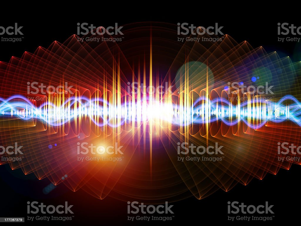 Colorful example of what a sound wave looks like stock photo
