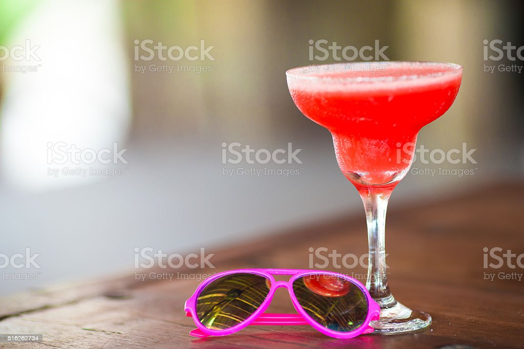 Colorful exotic tasty cocktails in outdoor cafe stock photo