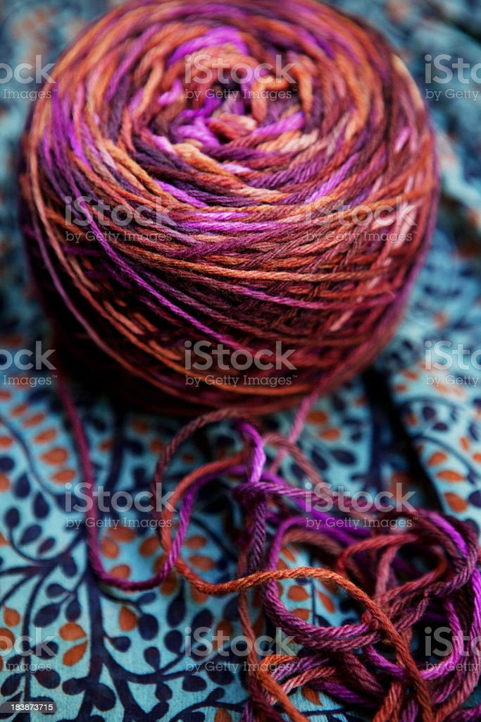 Colorful extra fine merino wool yarn ball stock photo
