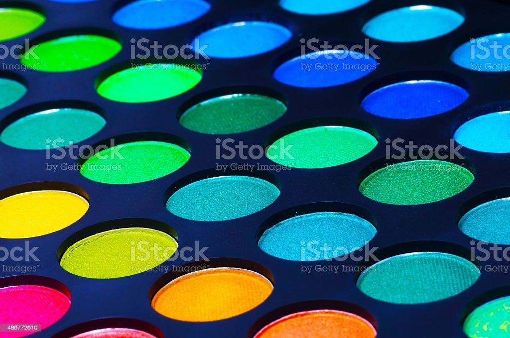 Colorful eye shadows palette stock photo