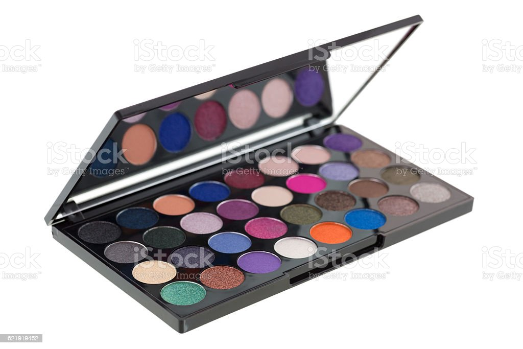 Colorful Eyeshadow. Closeup side view of makeup cosmetic palette stock photo