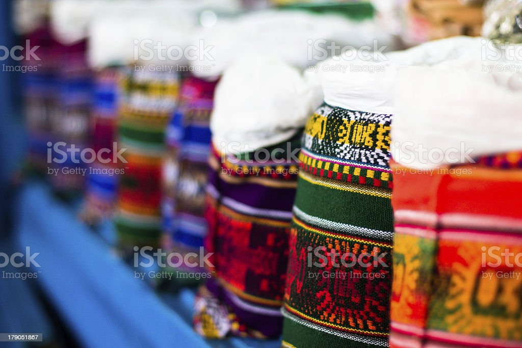 Colorful Fabric at market in Peru, South America royalty-free stock photo