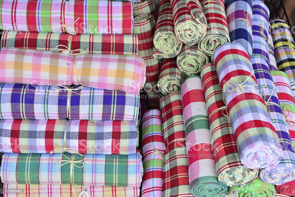 Colorful fabric rolls royalty-free stock photo