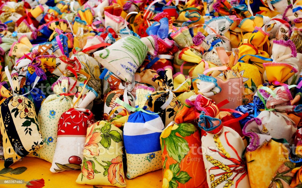 Colorful fabric sachets for sale stock photo