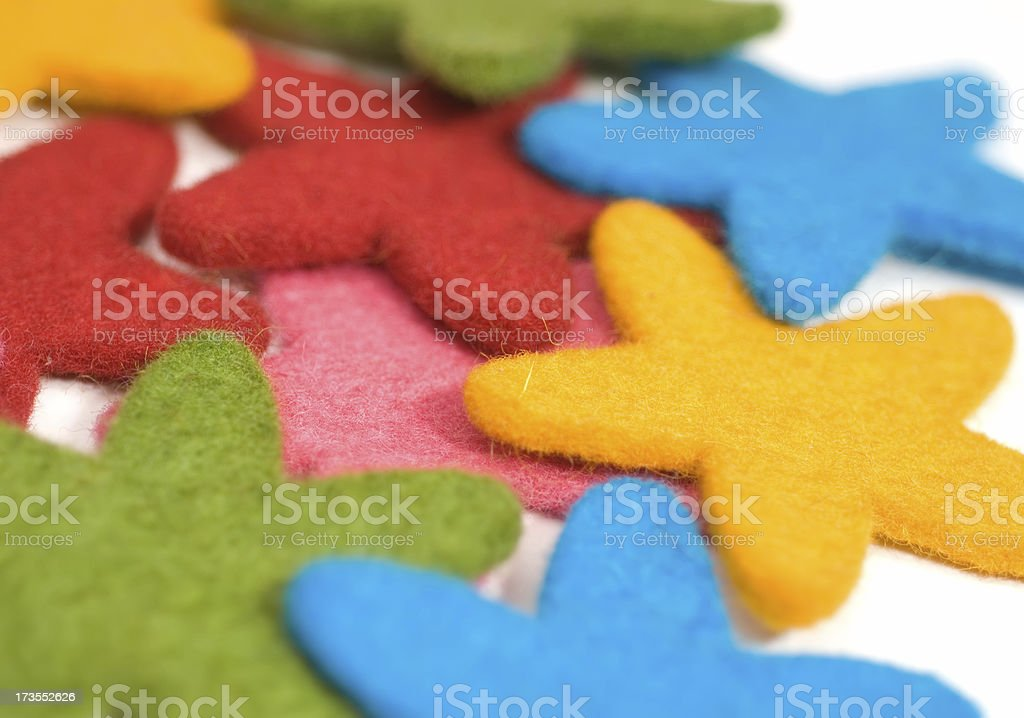 Colorful fabric stars stock photo