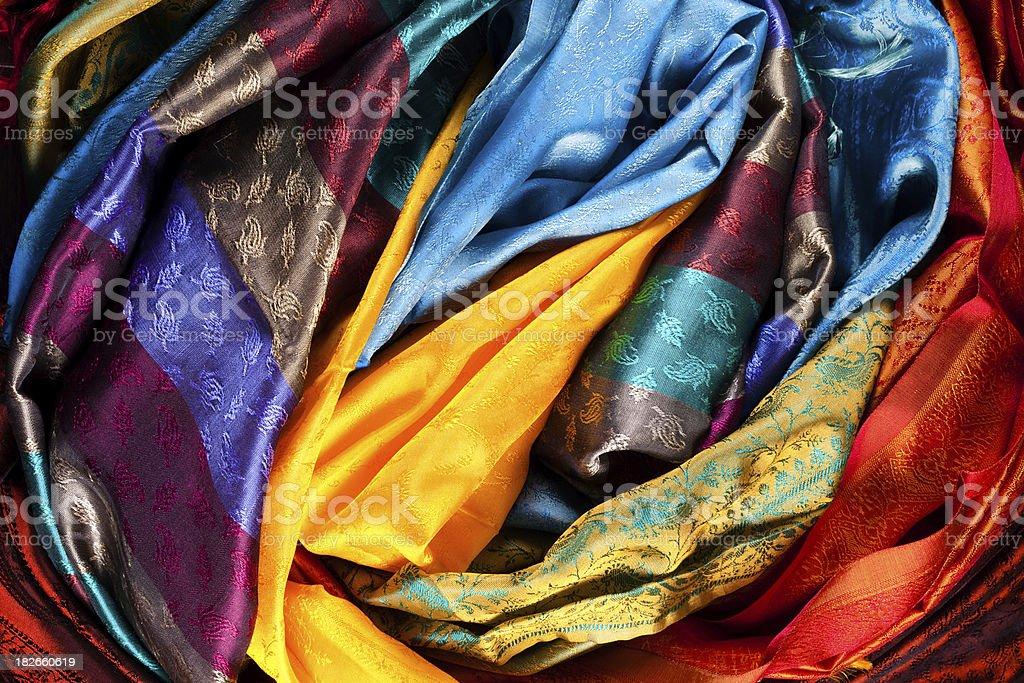colorful  fabrics stock photo