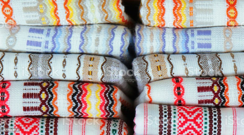 Colorful fabrics with traditional Bulgarian embroidery stock photo