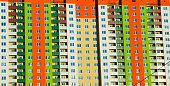 colorful facade of an apartment house
