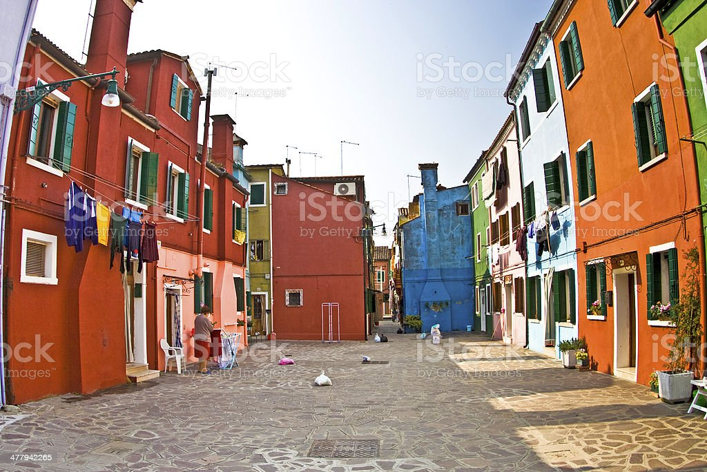 colorful facade of an old fisher house and street royalty-free stock photo