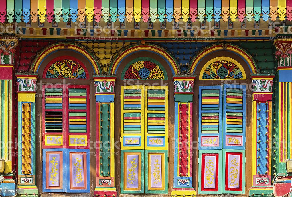 Colorful facade of building in Little India stock photo