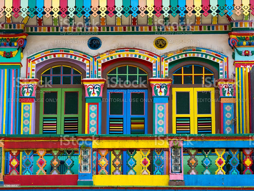 Colorful Facade of Famous Building in Little India, Singapore stock photo