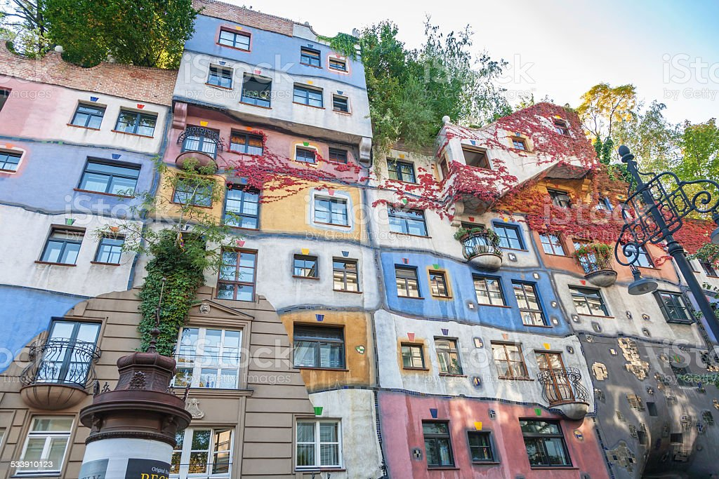 Colorful facade of the famous Hundertwasserhaus in Vienna, Austria stock photo