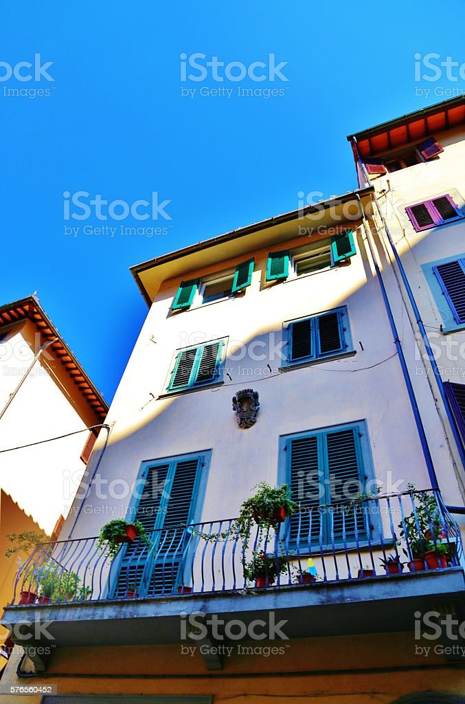 Colorful  Facade With Balcony stock photo