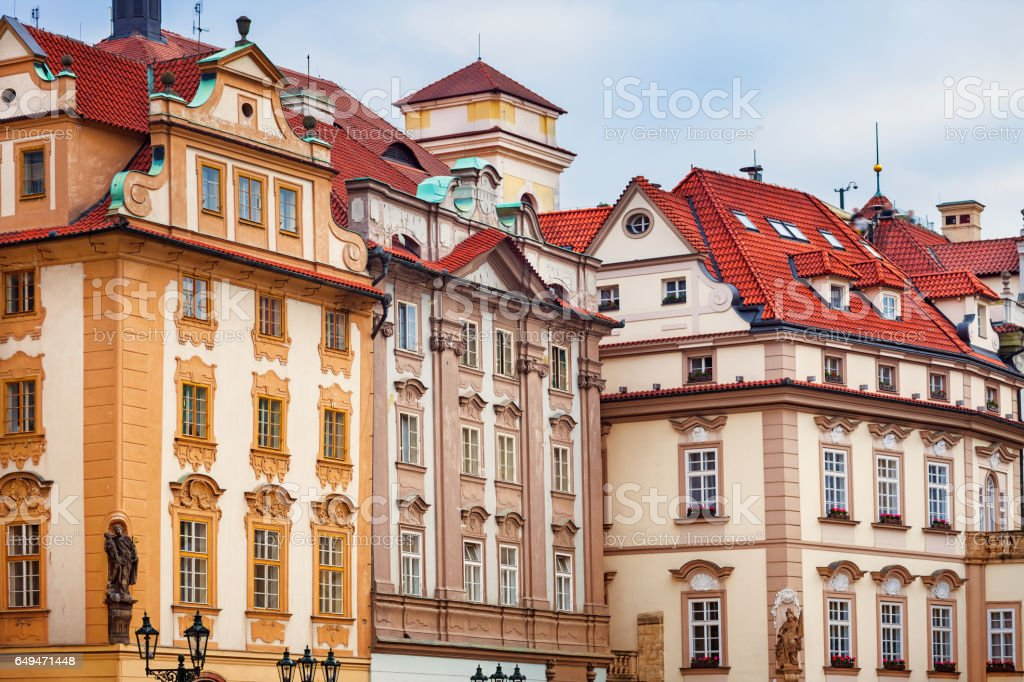 Colorful Facades at Old Town Square of downtown Prague stock photo