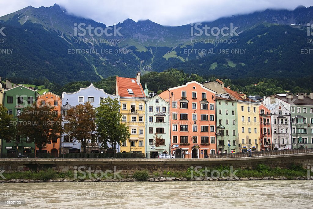 Colorful facades, Innsbruck, Austria royalty-free stock photo