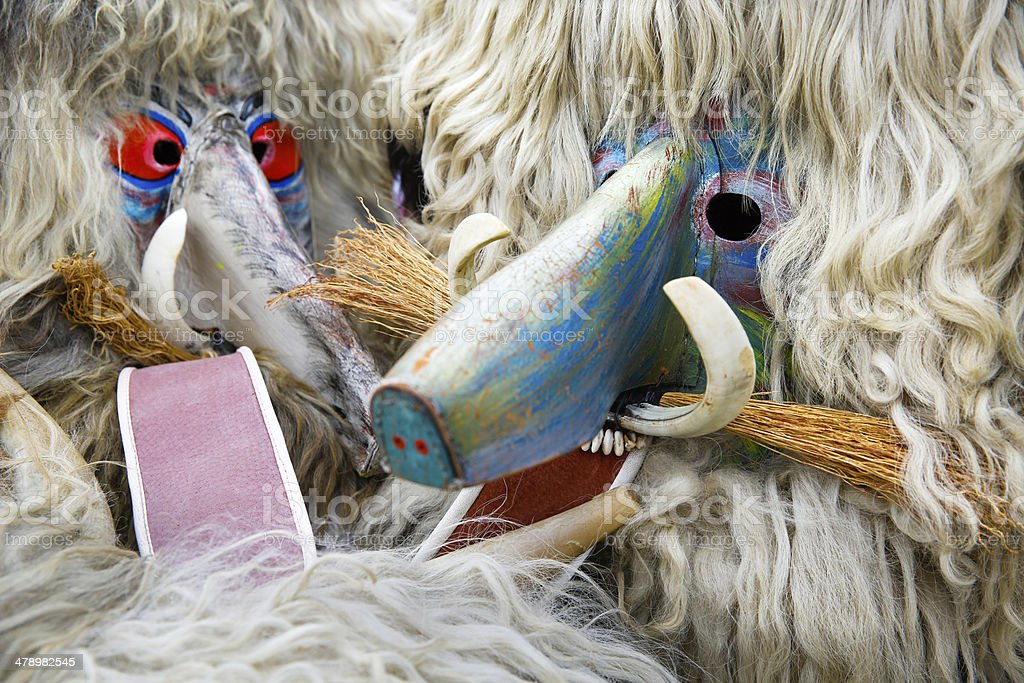 Colorful face of kurent, slovenian traditional mask stock photo