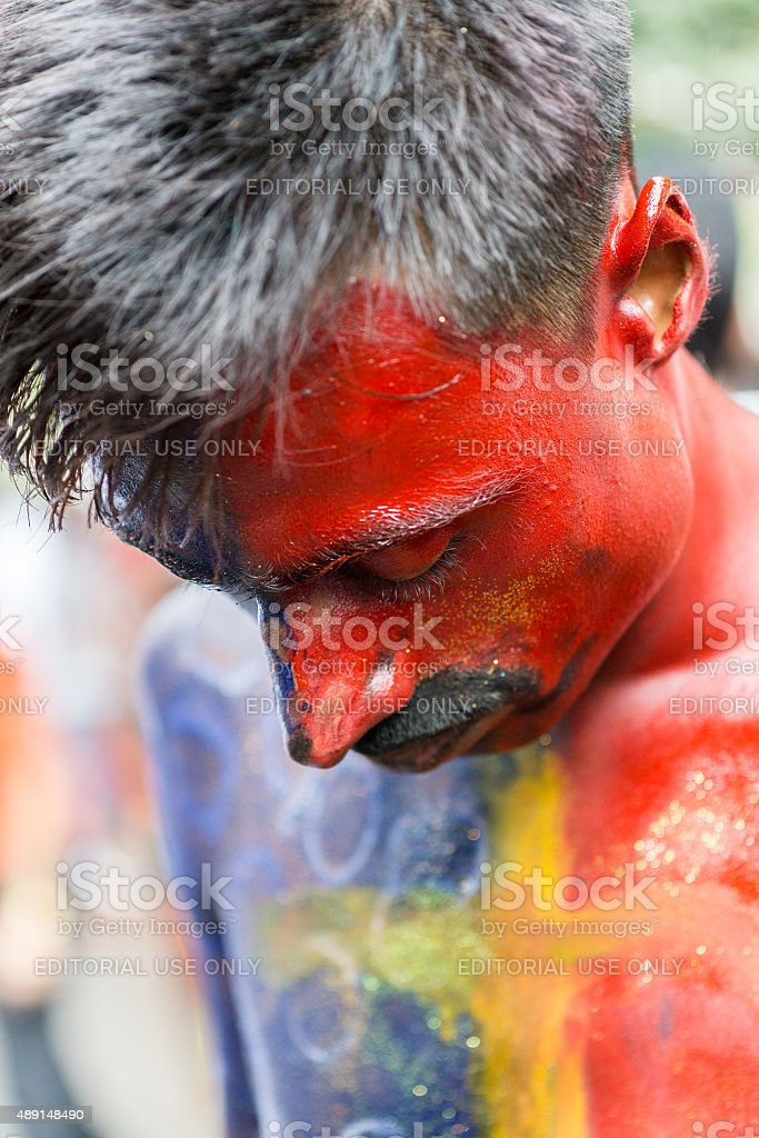 colorful face stock photo
