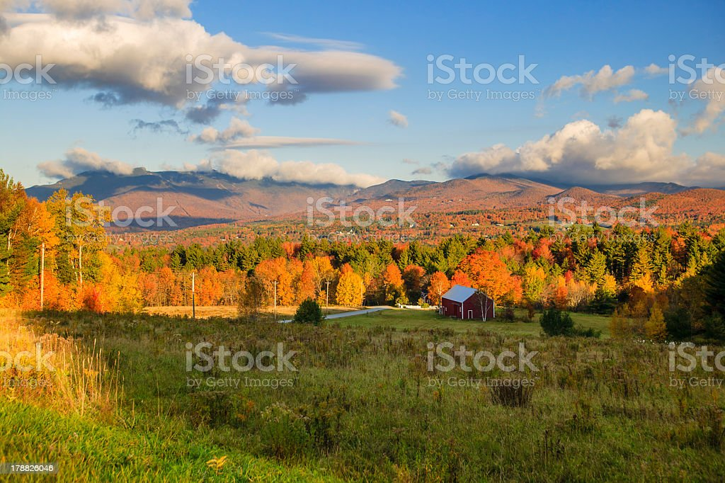 Colorful fall foliage on Mt. Mansfield, Stowe, Vermont, USA stock photo