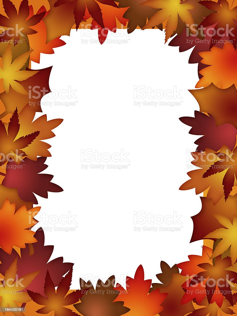 Colorful Fall Leaves Border over White stock photo