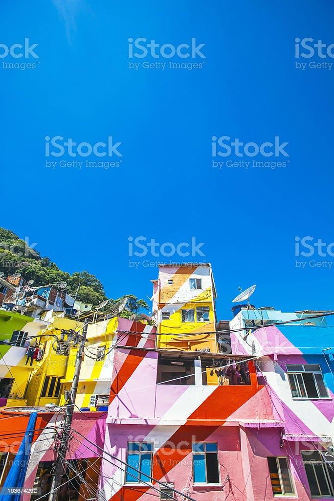 Colorful favela buildings. stock photo