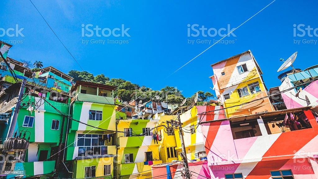 Colorful favela. Santa Marta, Rio de Janeiro. stock photo