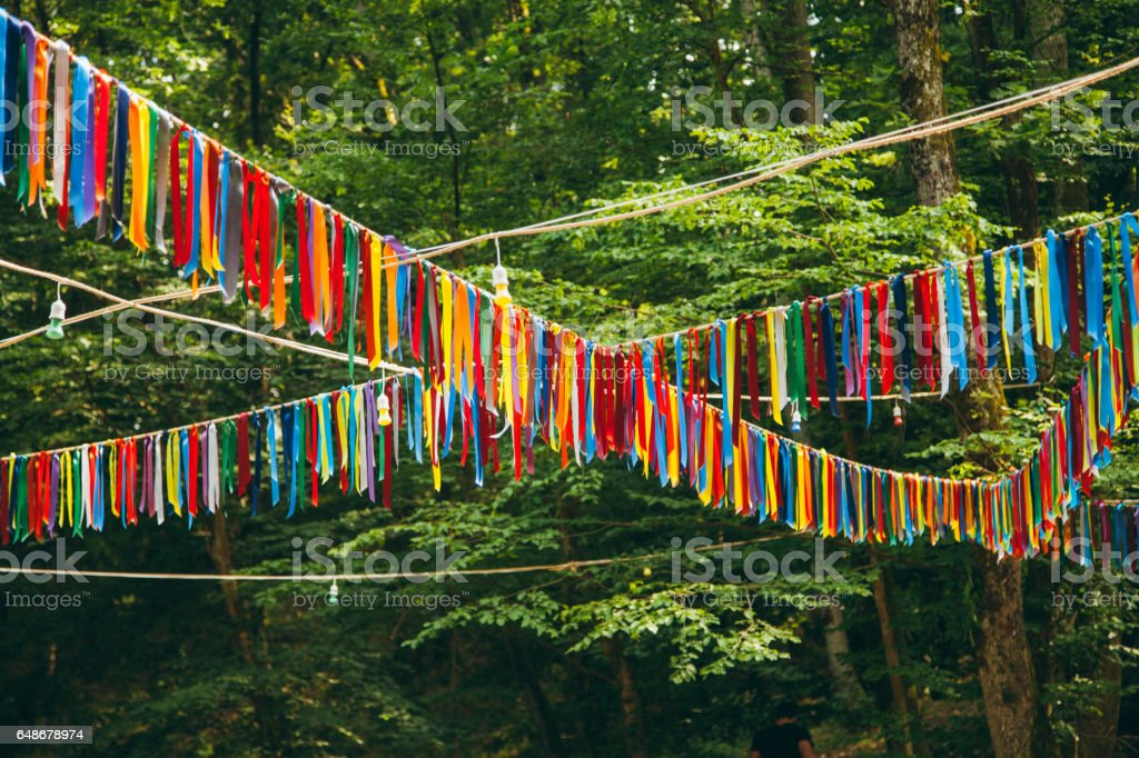 Colorful feast flags stock photo