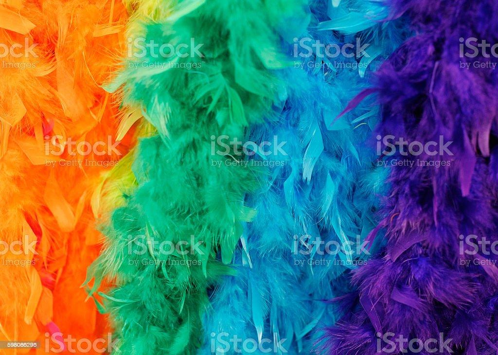 Colorful feathered boas stock photo