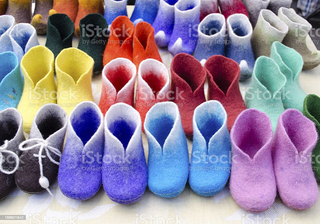 colorful felt boots in market royalty-free stock photo