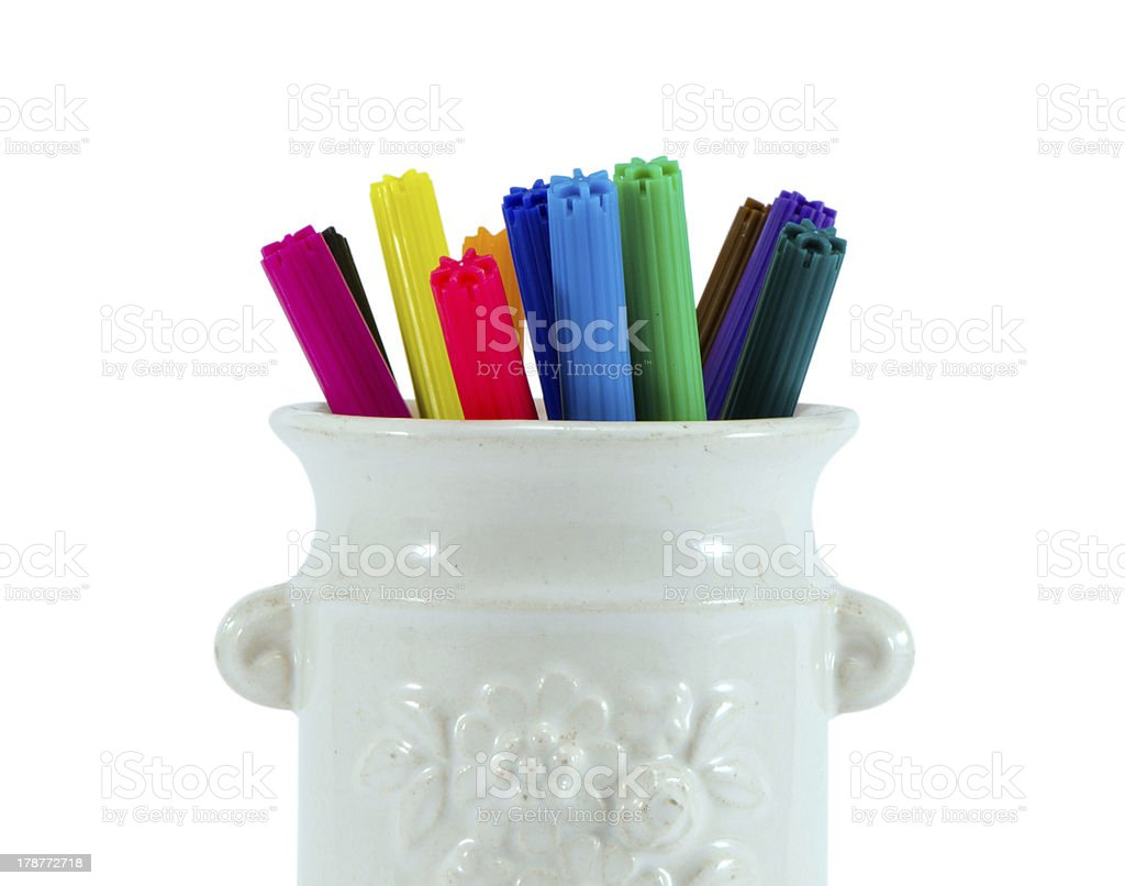 colorful felt tip pen glay cup isolated on white royalty-free stock photo