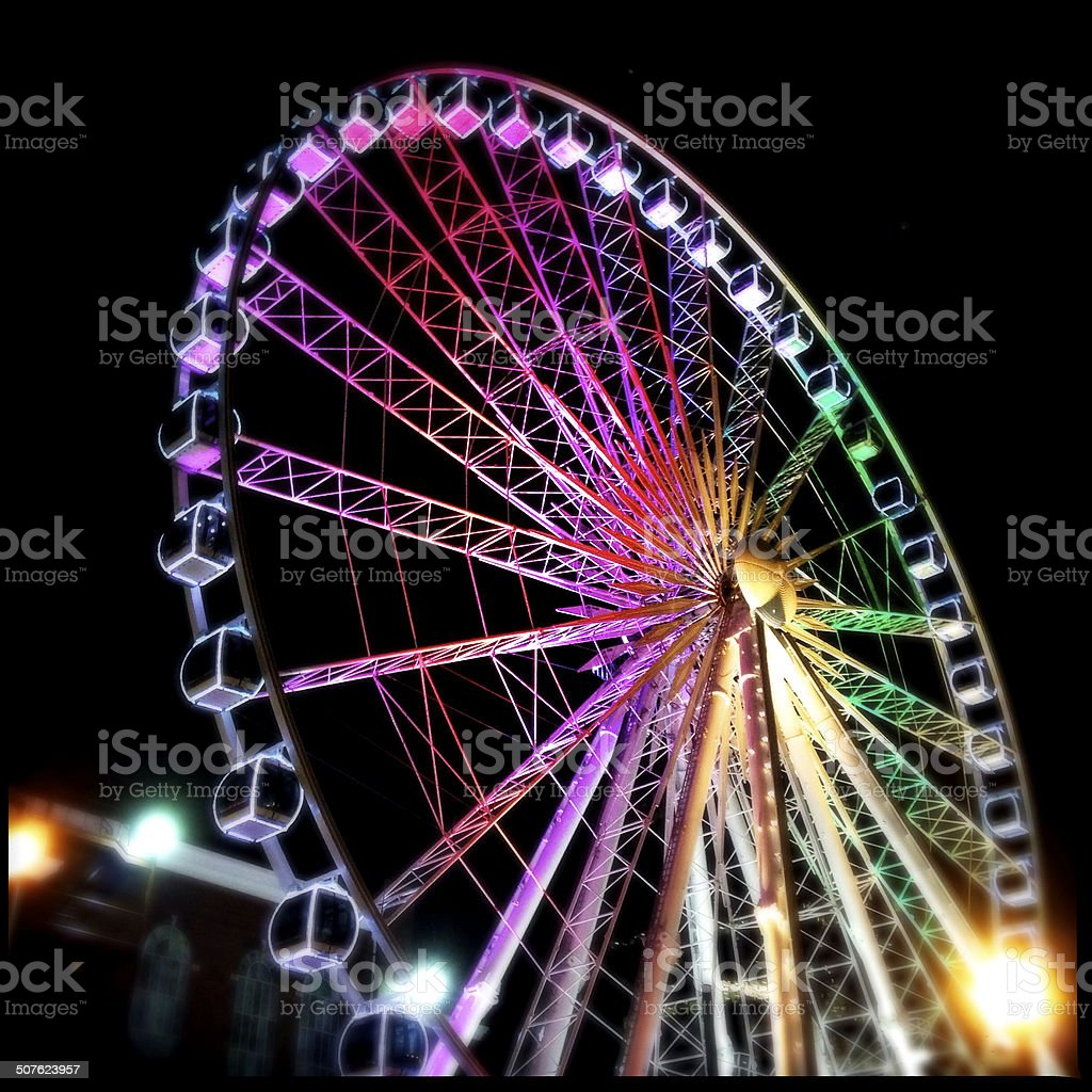 Colorful Ferris Wheel at Night stock photo