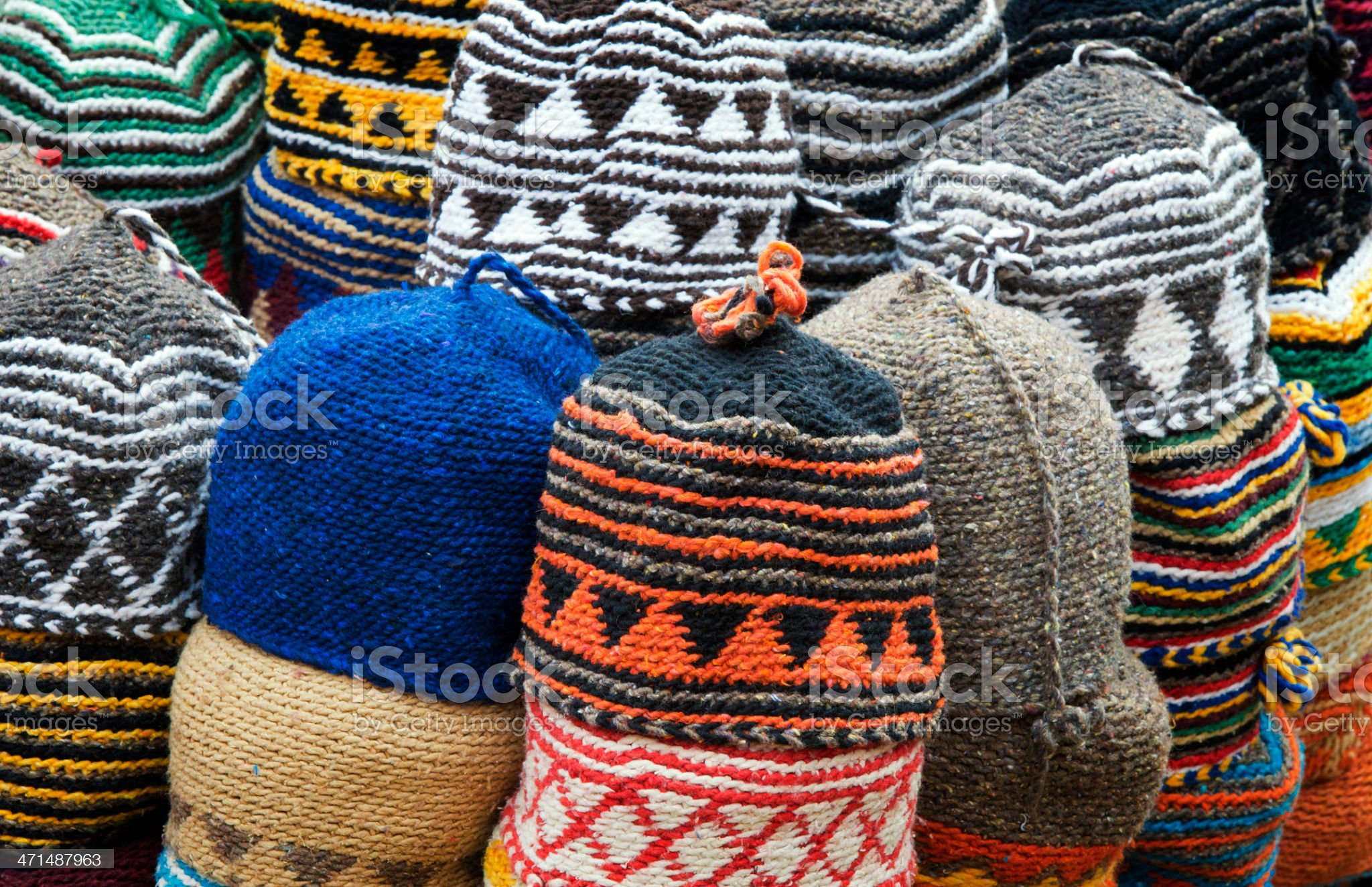 Colorful fez market stall in the Marrakech souk royalty-free stock photo