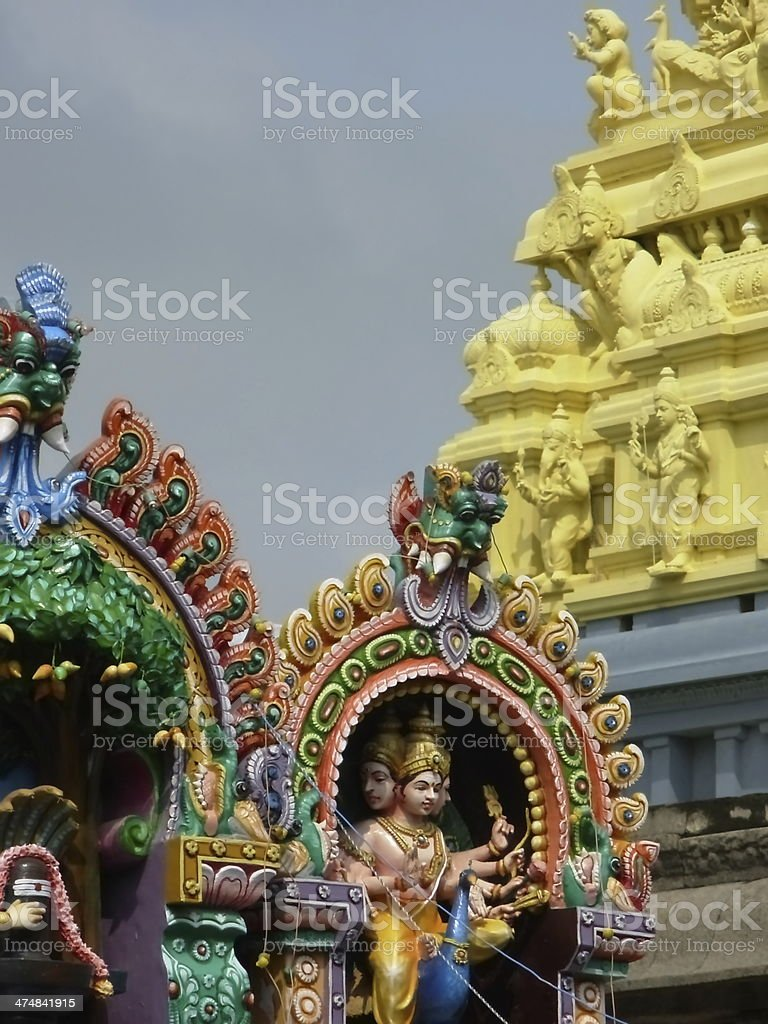 colorful figurs of a hindu temple in India stock photo