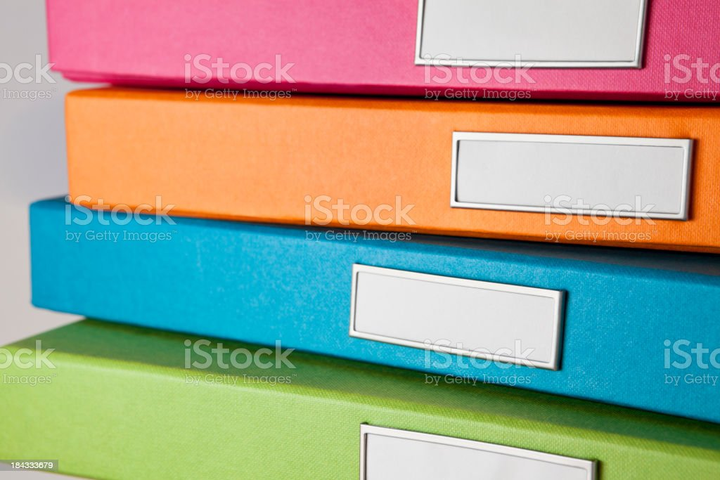 Colorful File Boxes stock photo