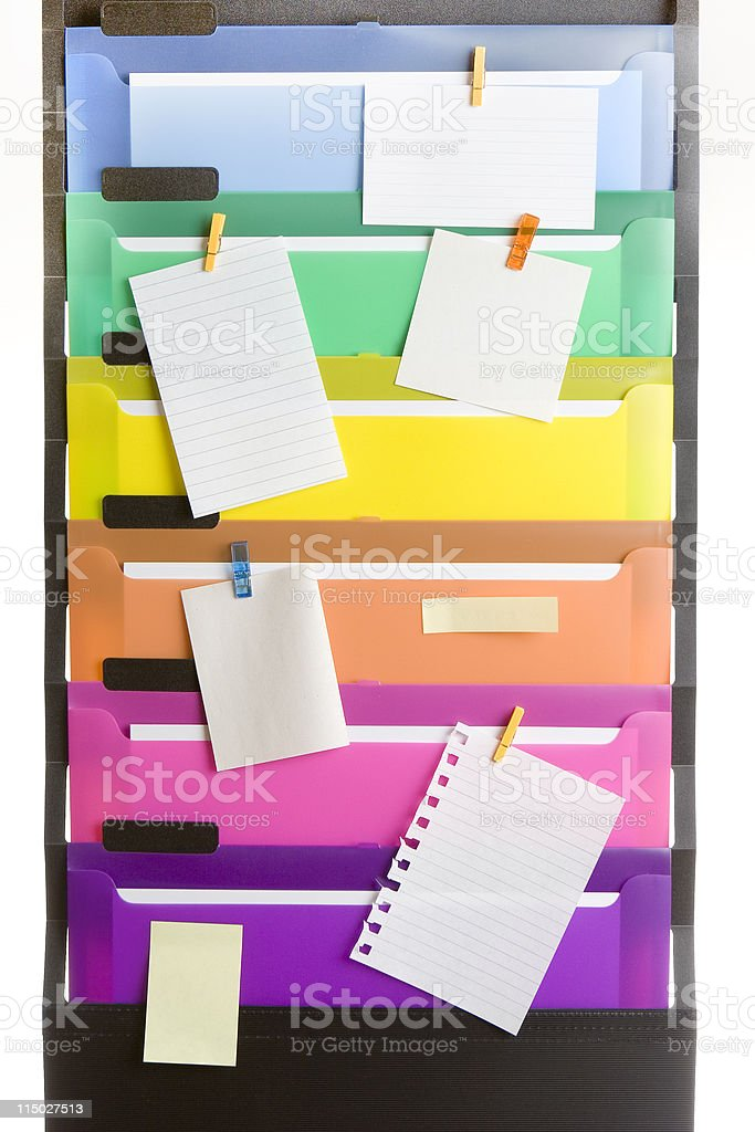 Colorful File Folders with Blank Notes royalty-free stock photo