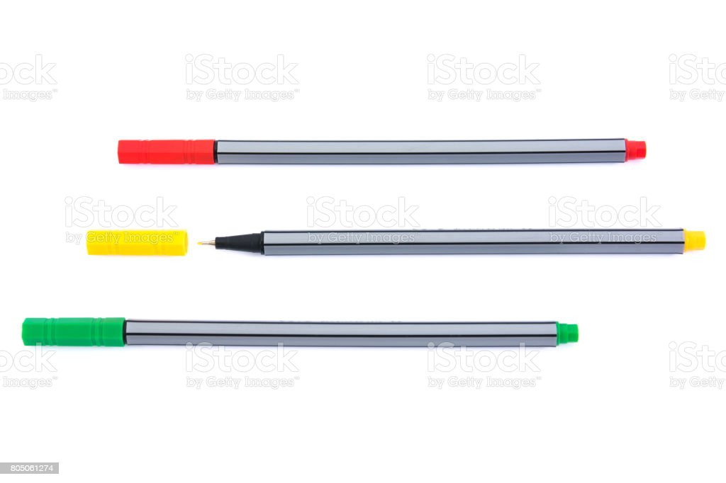 Colorful fineliner markers isolated on white background.Three of felt pens isolated stock photo