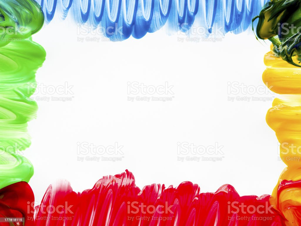 Colorful finger paint border stock photo