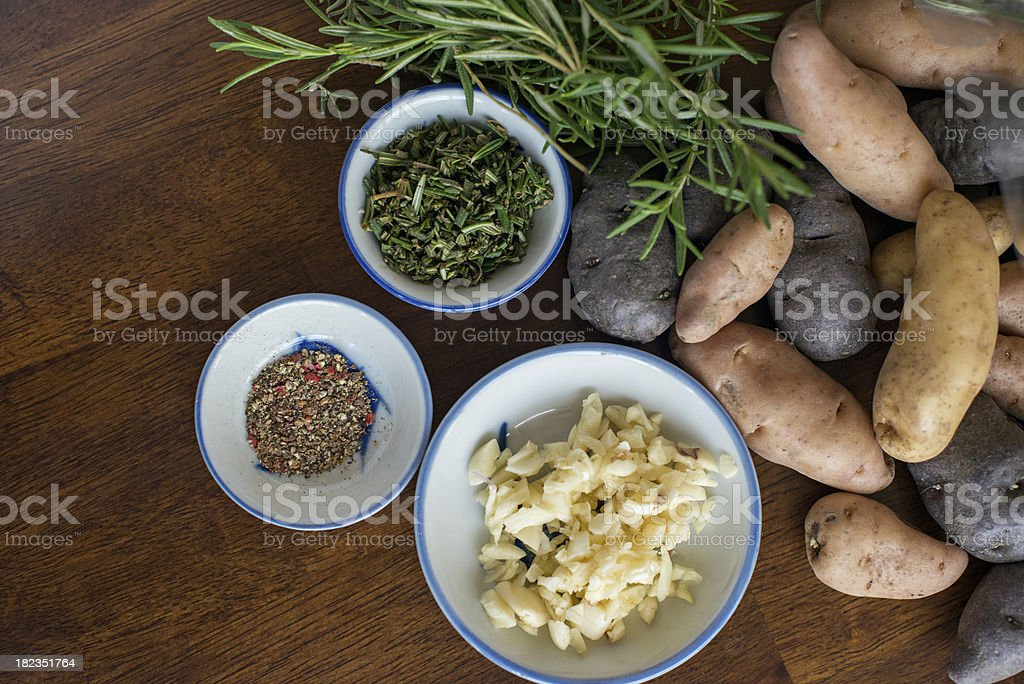 Colorful fingerling potatoes stock photo