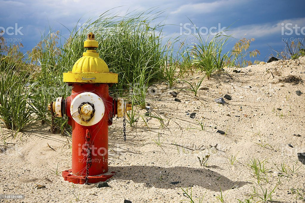 Colorful fire hydrant on the beach royalty-free stock photo
