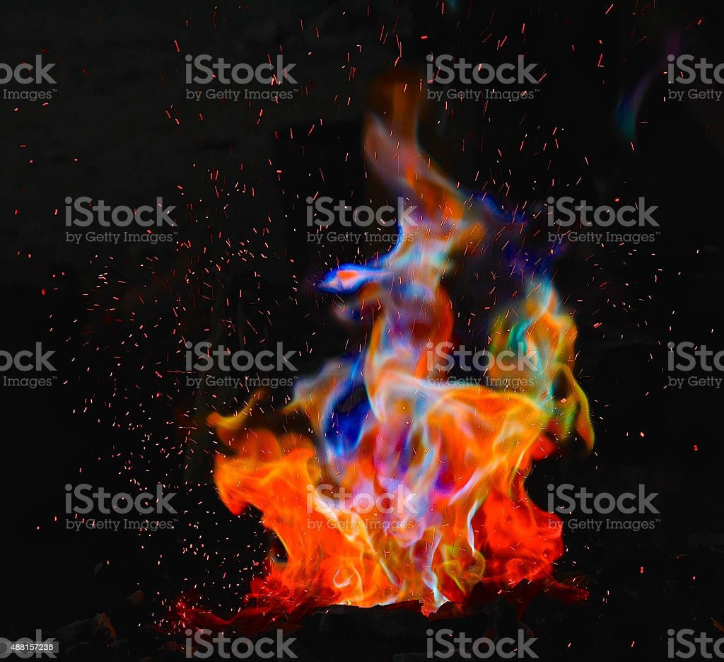 Colorful fire stock photo