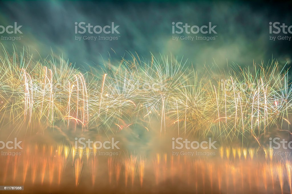 Colorful firework display stock photo
