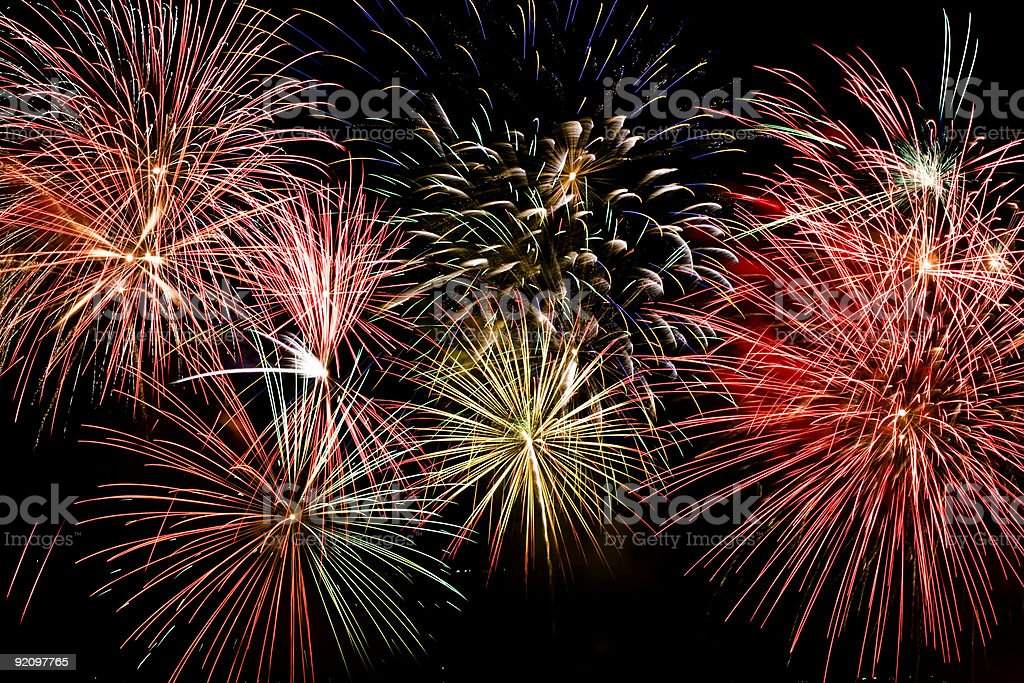 Colorful firework show royalty-free stock photo