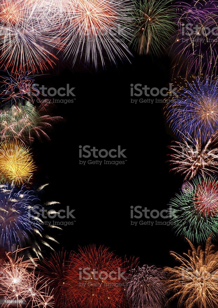 Colorful fireworks as a picture border royalty-free stock photo