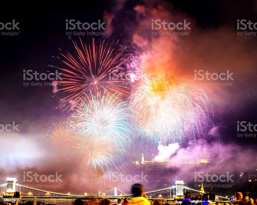Colorful fireworks in Hungary, Budapest stock photo